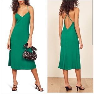 Reformation | Kay Green Slip Dress Criss Cross